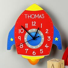 Childrens Personalised Rocket Shape Wooden Clock - Add Any Name, Birthday Gift