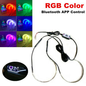 1 to2 RGB LED Demon Eye bluetooth APP Control Halo Ring Headlight Projector Kit