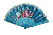 Silk Hand Fan with Golden Lace and Color Slab