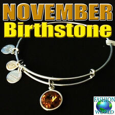 Alex and Ani NOVEMBER BIRTHSTONE Silver Charm Bangle New W/Tag,Card & Box