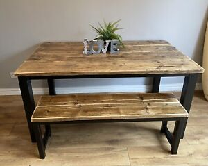 Dining Table & Matching Bench Reclaimed Wood &Steel Rustic Industrial Chic