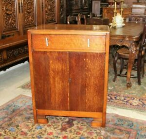 "English Antique Oak Art Deco 2 Doors & 1 Drawer Cabinet  H 37"" x W 28"" x D 17"""