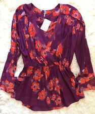 Free People 100% Viscose M NEW Floral Boho Chic Gathered Tunic Blouse Top $108