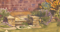 Mid 20th Century Watercolour - House Garden View