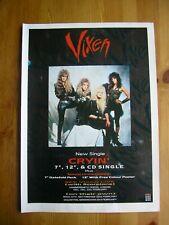 VIXEN - CRYIN' - ADVERT - 21 x 29.5cm.