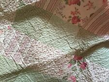 French Country Shabby Chic Throw Quilt Rug Blanket Green Pink Patchwork