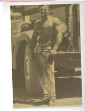 bodybuilder CHUCK SIPES w/Logging Truck Bodybuilding Muscle Photo B+W