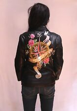 Hand Painted Leather Jacket - I know where i'm going - Antique Compass