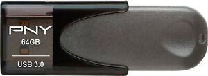 PNY Elite Turbo Attache 4 64GB USB 3.0 Type A Flash Drive - Black/Gray