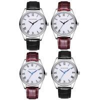 Men Roman Numerals Dial Wrist Watch Casual Leather Band Analog Quartz Wristwatch