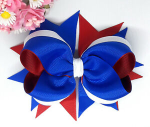 """BLUE and RED HANDMADE LARGE 5"""" HAIR RIBBON BOW GIRLS ALLIGATOR CLIP HAIR BOW"""