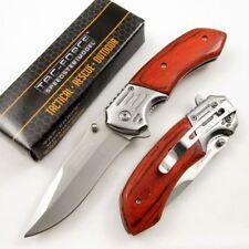 Spring-Assisted Folding Pocket Knife Tac-Force Wood Handle Gray Blade Tf-938Sw