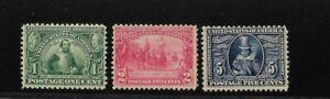 US Scott #328-#330 mint never hinged 1907 Jamestown Exposition Issue og f/vf