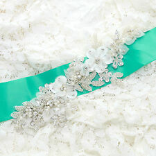 Diamante Crystal Lace Organza Flowers Beaded Wedding Bridal Sew On Applique