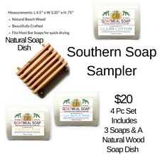 Goatmeal Southern Soap Sampler Gift Manuka Honey Goats Milk Set & Wooden Dish