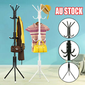 12 Hook Coat Hanger Stand 3-Tier Hat Clothes Rack Metal Tree Style Storage White