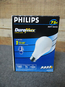 4- PHILIPS DURAMAX 75W Double Life Soft White Light Bulbs