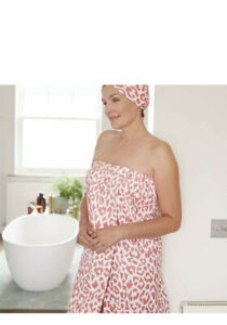 PINK LEOPARD PRINT TURBAN HAIR TOWEL AND WRAP TOWEL SET