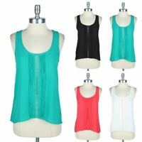 High Low Hem Sleeveless Tank Top with Pintuck and Middle Lace Cute Style S M L
