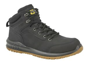 Mens Safety Boots Grafters Black Lightweight Slip Resistant Lace Up Nubuck