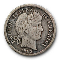 1903 S Key Date Barber Head Dime Very Fine VF US 10c Coin #5978