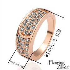 18K Rose Gold Filled Swarovski Crystals Engagement Vintage Wedding Ring Size 8
