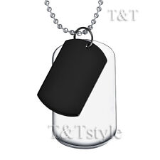T&T Two-Tone Silver Black Plain Double Dog Tag (DT26)
