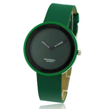 All-match Unisex Men Casual sport Quartz Wrist Watch Dark Green PU Leather reloj
