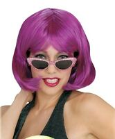 Womens Short Magenta Wig Bob Bangs Pink Purple Chin Length Hair Adult Halloween
