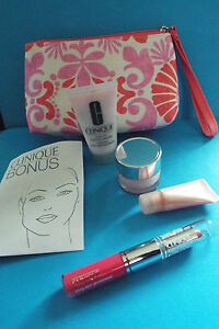 Clinique Bonus Gift With Purchase Duel End Lip, Cleanser, De-Puff eye, Hydrator