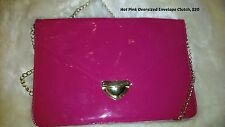 Womens Oversized Envelope Purse Clutch Bags Handbag Large Pink or Turquoise