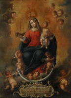 """oil painting on canvas""""the virgin, christ child and angels """"N12634"""