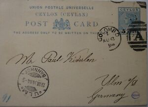 1894: 5 cents on 6 cents blue Postcard: Colombo to Ulm.