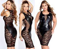 Women's Black Faux Leather Floral Lace Mesh Little Black Club Dress + Plus size