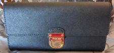 MICHAEL KORS ~BRIDGETTE Saffiano Leather Large FLAP Wallet ~BLACK~ NWT $178