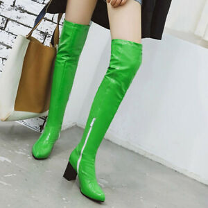 Womens Over The Knee Stretch Patent Leather Ladies Block Heel Thigh High Boots