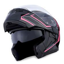 1Storm Motorcycle Modular Flip up Full Face Helmet Dual Visor Arrow Pink