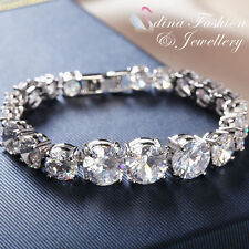18K White Gold Filled Simulated Diamond Large Round Cut Silver Tennis Bracelet