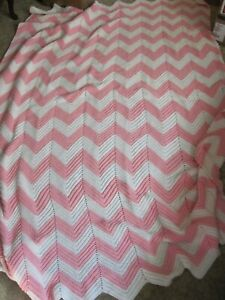"Handmade Vintage Afghan Pink & White Chevron Stripe 79"" x 104"" King Size"