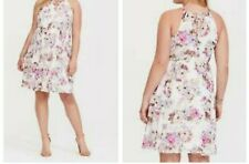 bee72c1479668 Torrid Ivory Floral Chiffon High Neck Skater Mini Dress 00x Med Large 10   74876