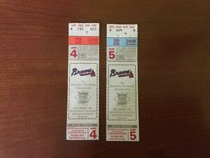1991 Atlanta Braves National League Championship Series Game 4 and 5 Ticket