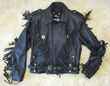 Open Road Removable Liner Wilson Black Leather Fringe Motorcycle Jacket Men MED