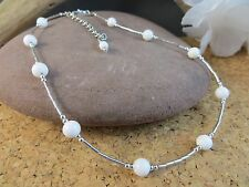 New Genuine White Coral & Sterling Silver Adjustable Choker Necklace  #219