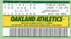 INDIANS @ A'S ~ 1989 Ticket at Oakland ~ Henderson, Canseco HRs ~ FREE SHIPPING