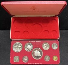 1976 9 Piece Bahamas Proof Set Silver 50C $1 $2 $5 Perfect In Card With Box