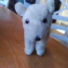 Vintage/Antique mohair Teddy polar bear, glass eyes, unjointed EUC