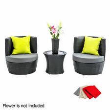 4pcs Outdoor Furniture Set 2 Seater Stackable Wicker Rattan Garden Patio Grey