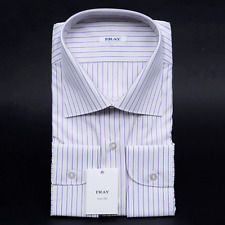 $580 NWT FRAY Purple Balanced Striped Spread Collar Cotton Dress Shirt 16 1/2