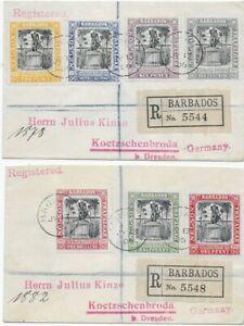 Barbados 1906 - Michel-Nr. 69-75 - 2 Einschreiben nach Koetzschenbroda