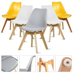 Retro Dining chairs Wooden Legs Kitchen Room Chair Lounge Soft Padded Chair